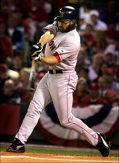 Leadoff hitter Johnny Damon came up big in ALCS victories over the Yankees, then hit this first-inning home run that was all the Red Sox needed in the World Series clincher.