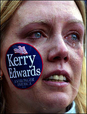 Christina Boutin of Cambridge reacted tearfully to Kerry's concession speech