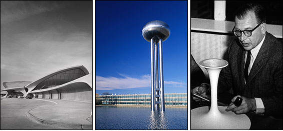 From left: Eero Saarinen's eclectic, structurally innovative buildings include the TWA terminal at Kennedy International Airport and the General Motors Technical Center in Warren, Mich.; Saarinen and his famed 'Tulip' chair in 1957.