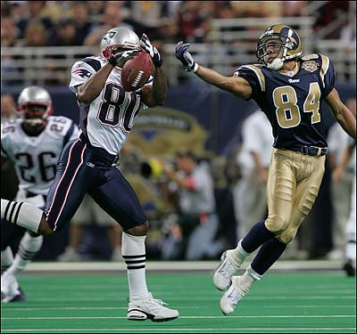 Vrabel wasn't the only Patriot to play out of position. With injuries depleting the Patriots' secondary, Troy Brown wound up playing cornerback. He almost intercepts this pass in front of Rams receiver Shaun McDonald during the third quarter.