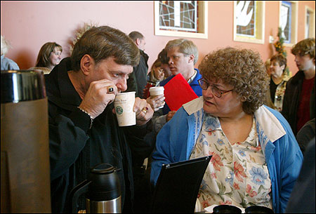Robert Simoneau and his wife, Anna, attend Grace Capital Church in Pembroke, N.H., which houses a Starbucks kiosk.