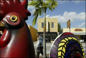 Whimsical six foot statues of roosters can be found along Calle Ocho in Little Havana.