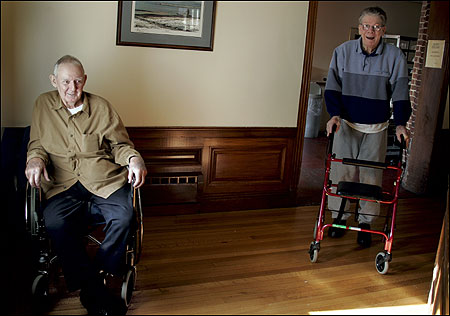 Jack Meagher (L) and Arthur Roberts at Sea View Retreat in Rowley, which made the biggest improvement between 2002 and 2004 in rankings of Massachusetts nursing homes.