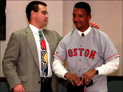 We take a look back at the highlights and lowlights of Pedro Martinez's Red Sox career. On Nov. 18, 1997, Martinez was acquired from Montreal for minor league pitchers Tony Armas and Carl Pavano. On Dec. 12 of that year, he signed a six-year, $75 million deal with Dan Duquette and the Sox.