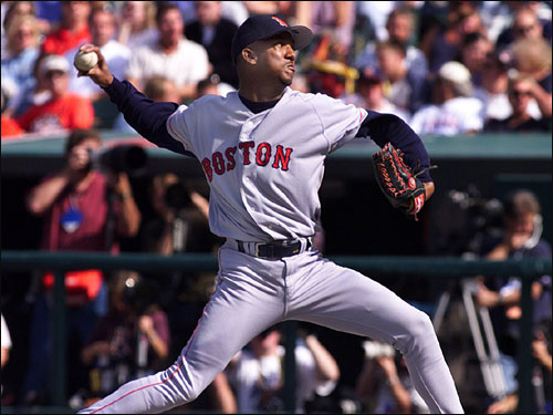 In his first career postseason start, Pedro went seven solid innings (6 hits, 3 runs, 8 Ks) in an 11-3 victory over Indians.