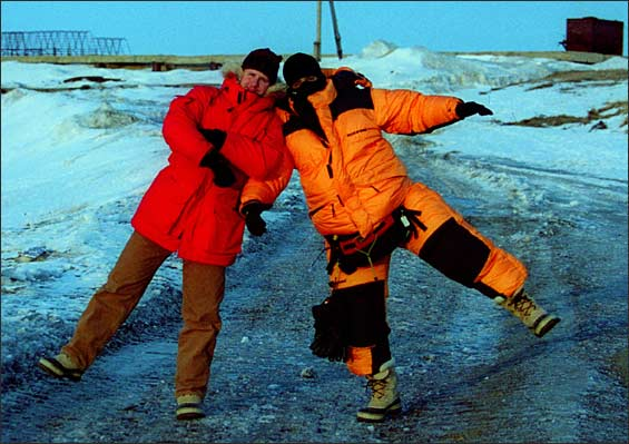 Reporter Tom Haines, left, and photographer Essdras Suarez in Lorino, Russia.