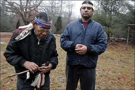 Lloyd Wilcox, a medicine man, holding the tribal pipe, joined John Brown on the Narragansett August Meeting Ground.
