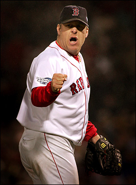 Oct. 24: After pitching six gutsy innings in Game 2 of the World Series on a sutured ankle, Curt Schilling left the game with an emphatic pump of the fist. The team backed him up, heading out to St. Louis after a 6-2 win.