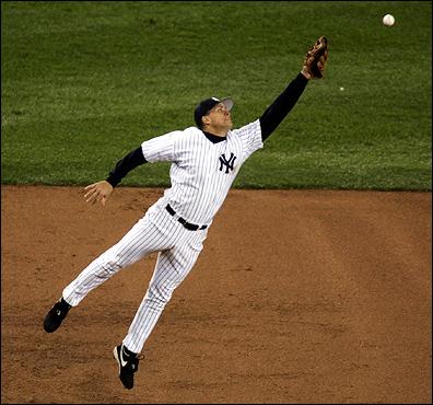 Yankees third baseman Alex Rodriguez came up short on a ball hit by Orlando Cabrera.