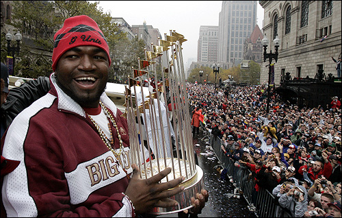 Oct. 30: Red Sox slugger David Ortiz displayed the World Series trophy on Boylston Street to several million friends during the celebratory parade, which included an amphibious procession aboard 'duck boats.'