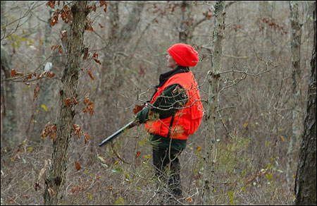 Sarah Dowling peered into a swampy marsh on a hunting trip in Sandwich earlier this month. Her hunting partner Kara Peterson had seen some deer earlier in the day.