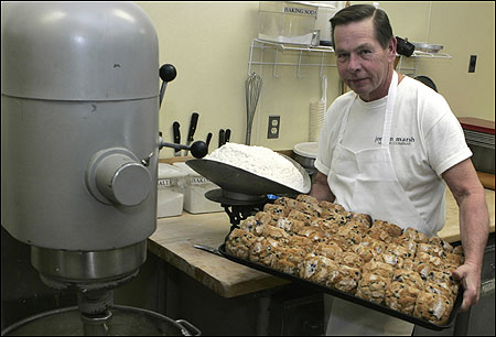 John Pupek, at his Brockton bakery, has been baking the popular Jordan Marsh muffins since 1961.