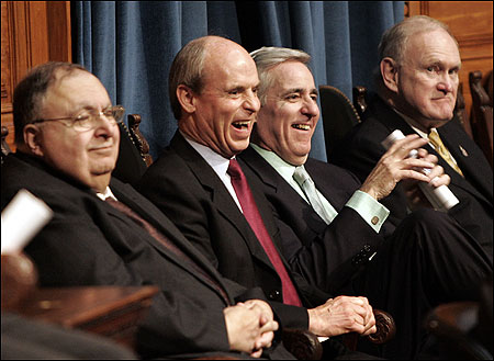 Special guests on hand for the convening of the new session of the Massachusetts Legislature yesterday included (from left) former House speakers George Keverian, Thomas M. Finneran, Charles F. Flaherty, and Robert H. Quinn. Along with policy, ceremony marked the day.