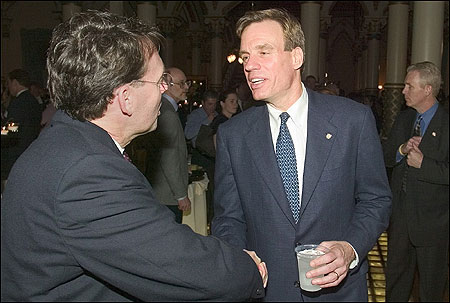 Virginia Governor Mark R.Warner greeted activists Thursday at a reception sponsored by Equality Virginia in Richmond.