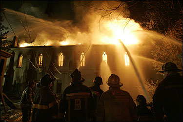 Firefighters worked to put out the blaze yesterday. The church, damaged in 1975 in a string of arsons, was built between 1856 and 1859.