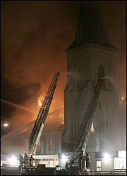 Fire officials were trying to determine what caused the fire at First Baptist Church in Jamaica Plain.