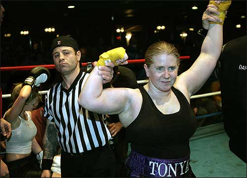 Scandalous skater Tonya Harding is trying to fight off her past in a new arena. <img src ='http://cache.boston.com/bonzai-fba/File-Based_Image_Resource/dingbat_arrow_icon.gif' alt='' title='' height='9' width='4' border='0' /> <a target='new' href ='http://www.boston.com/sports/other_sports/boxing/articles/2005/01/26/from_the_rink_to_the_ring'>Story