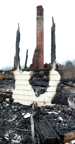 The scene of the Stage Point fire in Plymouth in Jan. 2005.