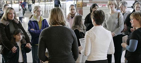 Marjorie Decker (right), vice mayor of Cambridge, welcomed women and girls  to