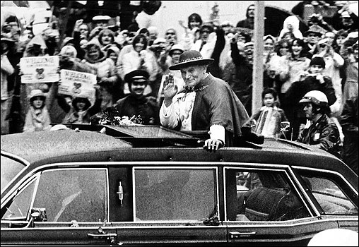 Boston-area residents turned out by the millions to greet Pope John Paul II when he arrived in October of 1979 for the start of a historic tour of the United States.