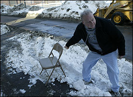 Bill Patts of South Boston said it took him an hour and a half to dig out a spot, and he intended to keep it.