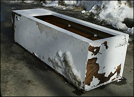 In Dorchester, a wooden box was among the many items on Auckland Street.