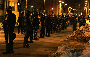 Police lined Hemenway Street last night.
