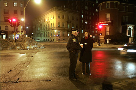During the game last night, Boston Police Commissioner Kathleen O'Toole talked with Superintendent Robert Dunford in Kenmore Square, which remained quiet afterward.