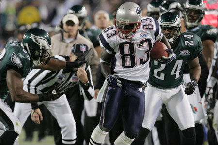 Deion Branch tiptoes along the sideline, his damage vs. the Eagles' stout secondary making a loud statement.