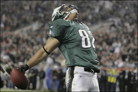 Eagles wide receiver Todd Pinkston jubilates his first quarter touch down to make the score 7-0 in Super Bowl XXXIX at Alltel Stadium in Jacksonville.