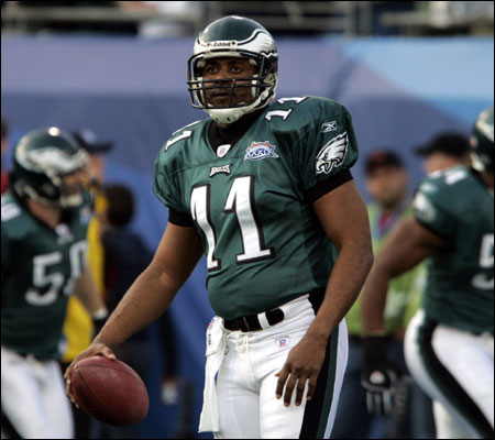 Jeff Blake of the Philadelphia Eagles before the start of Super Bowl XXXIX against the Patriots at Alltell Stadium.
