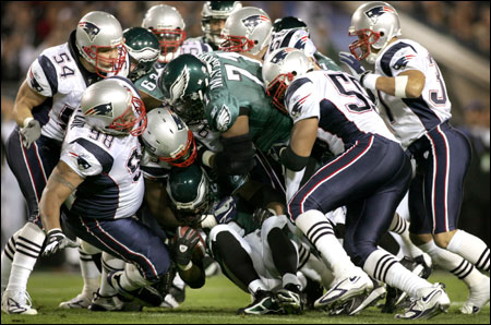 The Patriots' defense swarmed the Eagles during the Super Bowl XXXIX. No matter what players head coach Bill Belichick put into the game, they acted as a single, cohesive unit in their march to the championship.