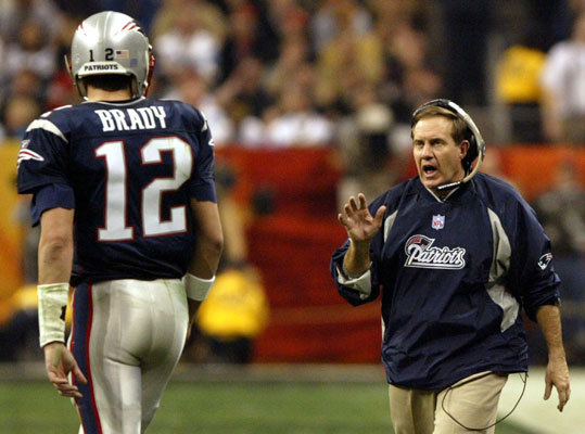 Super Bowl XXXVIII, Feb. 1, 2004: Patriots 32, Panthers 29 With 1:08 remaining and the ball at the Patriots' 40, Tom Brady found Deion Branch (10 catches) for a 17-yard pickup on third and 3, enabling Adam Vinatieri to send his second Super Bowl-winning kick through the uprights from 41 yards out against the Carolina Panthers in Houston. Brady, whose 32 completions set a Super Bowl record, became just the fourth player to win multiple MVP honors.