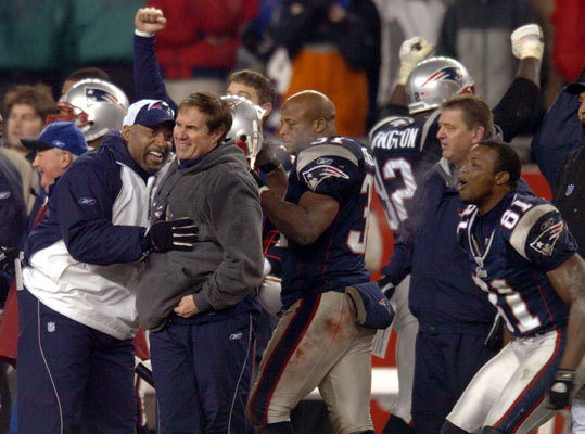 Jan. 18, 2004: Patriots 24, Colts 14 The game plan was to keep the ball out of league co-MVP Peyton Manning's hands during the AFC Championship in Foxborough. No one expected it to happen so easily. When the Colts had the ball, New England made Manning's life miserable, sacking him four times (three by Jarvis Green) and intercepting him four times. Ty Law's final pick, with 8:31 remaining and the Patriots holding a 21-7 lead, stopped a Colts drive that had reached New England territory. The Patriots' 14th straight win made them a perfect 4-0 in AFC title games.