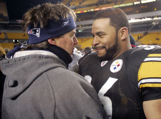Jan. 23, 2005: Patriots 41, Steelers 27 From 3-0, to 10-0, to 17-3, to 24-3, the Patriots had more big plays in the first half of the AFC Championship than they had in their entire Oct. 31 loss in Pittsburgh. Eugene Wilson picked off Ben Roethlisberger's first pass, and Rodney Harrison ran back an ill-timed Roethlisberger offering 87 yards just before the half. After the Steelers had pulled within 31-20 with 13:29 remaining, the Patriots staged consecutive 10-play scoring drives to make the Super Bowl date with the Philadelphia Eagles official.