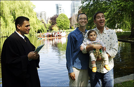 Justice of the Peace Scott Mooney married Christian Schlesinger and Russ Irwin (with adopted daughter Nina) in Boston's Public Garden.