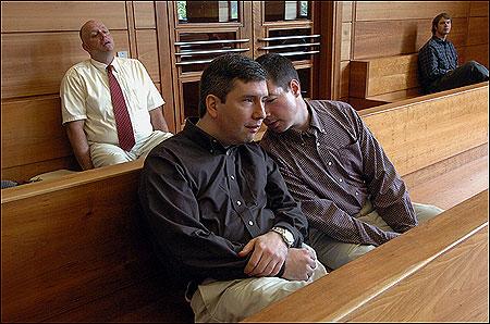 Stuart Wilder Wells IV, left, and his partner, Lawton Phillips Bourn, waited at Newburyport District Court.
