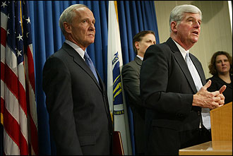 Above, Attorney General Thomas F. Reilly (L) and Education Commissioner David P. Driscoll spoke after the ruling yesterday. At left, Julie Hancock, a Brockton High School junior, was the lead plaintiff in the case.