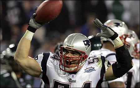 Tedy Bruschi celebrated after his fourth-quarter interception in the Patriots' Super Bowl victory over the Eagles this month.