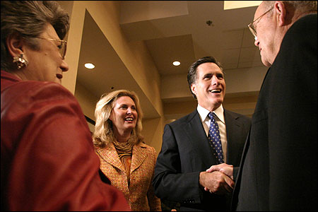 Governor Mitt Romney and his wife, Ann, met members of the Spartanburg County (S.C.) Republican Party last night.