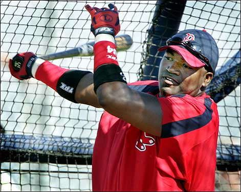 David Ortiz took batting practice yesterday.