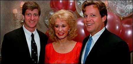 Representative Patrick Kennedy (left) and his brother Edward Jr. helped their mother celebrate her 60th birthday in 1996.