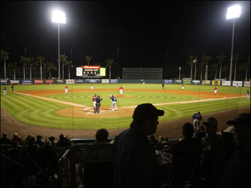 The lights towers shined down upon City of Palms Park.