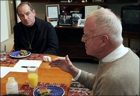 Former US represenative Amory Houghton Jr. (right) spoke with Episcopal Bishop M. Thomas Shaw, lending his expertise in a mission on politics and faith.