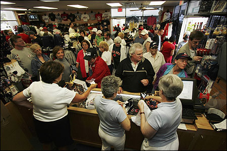 Fans packed the Boston Red Sox store this week at City of Palms Park in Fort Myers, Fla.