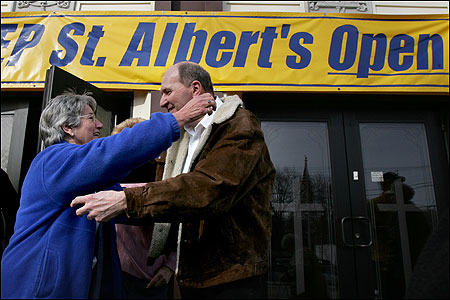Barbara Conant and John Hammel rejoiced at St. Albert the Great after learning the Weymouth parish will reopen.