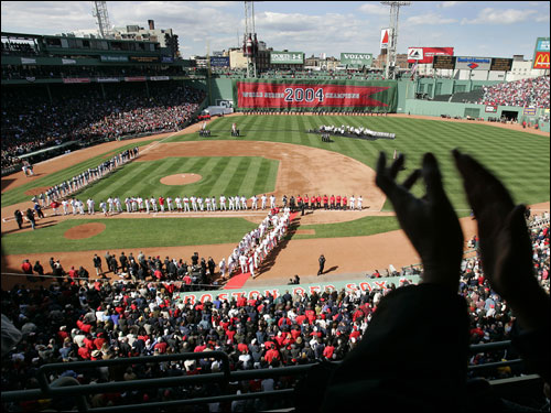The Fenway Faithful cheered as the Red Sox players were introduced during the 2005 home opener.