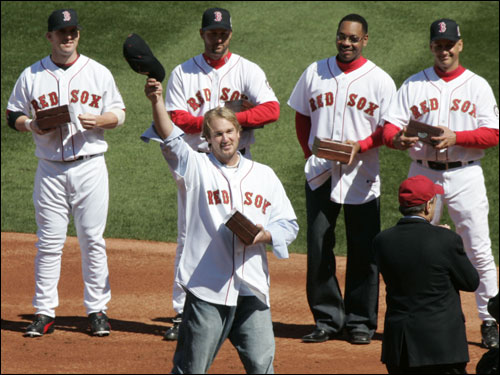 Former Red Sox pitcher Derek Lowe greeted the crowd at Fenway Park after receiving his World Series ring. Lowe, who now pitches for the Los Angeles Dodgers, received one of the loudest ovations from the Fenway Faithful.