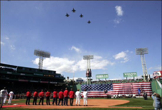 Military jets flew over Fenway after the National Anthem.
