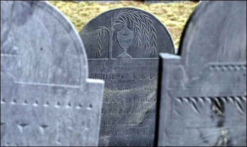150 years of a town's spirits: Congregational Church Cemetery in Hopkinton Center, a burying ground from 1744 to 1894. Look for the the gravestone of the Rev. Samuel Barrett, whose grandson taught Horace Mann.